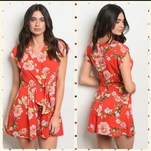 Just 2 Left!! Awesome Red Floral Romper
